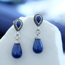 Load image into Gallery viewer, Natural Lapis & Marcasite Earrings - Vintage Style Jewellery by Chicago Marcasite Jewellery