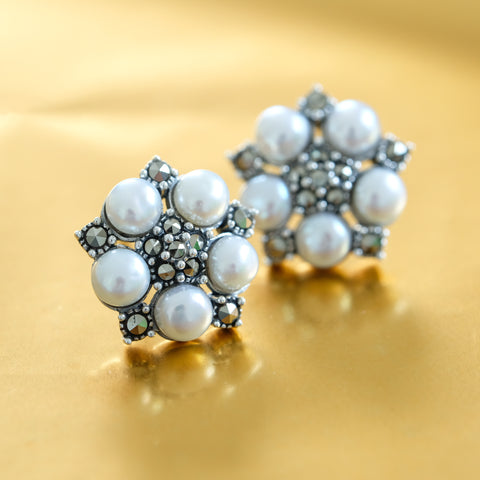 Freshwater Pearl Earrings - Chicago Marcasite Jewellery