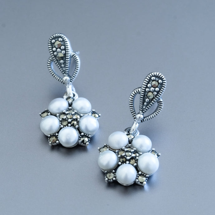 Pearl and Marcasite Earrings