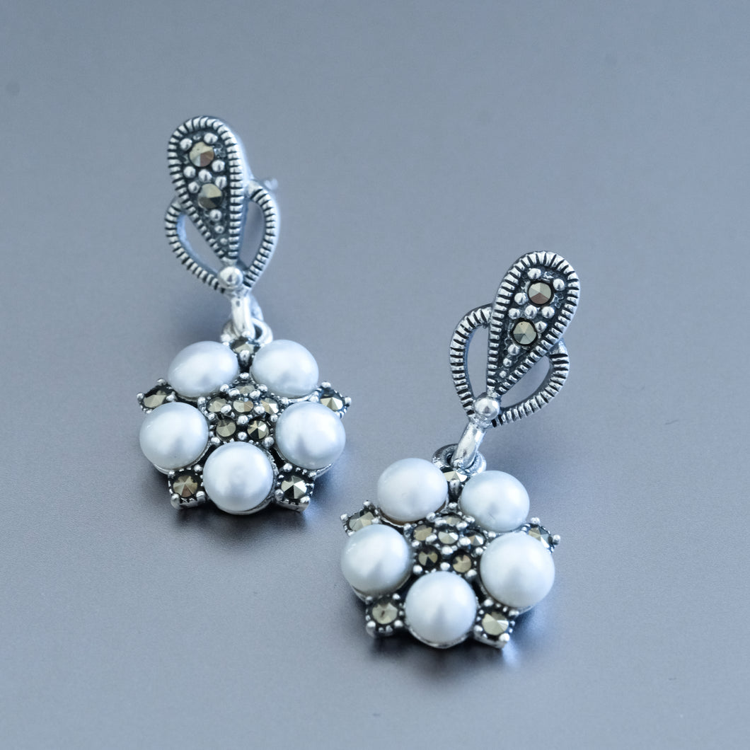 Freshwater Pearl and Marcasite Drop Earrings - Vintage Style Jewellery by Chicago Marcasite Jewellery