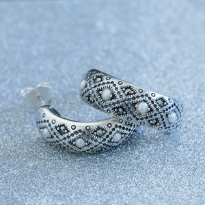 Silver Half Hoop Pearl Earrings - Vintage Style Jewellery by Chicago Marcasite Jewellery