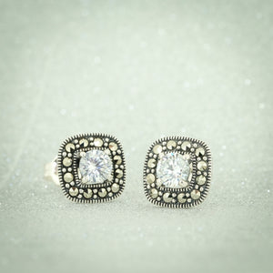 Cubic Zirconia & Marcasite Halo Stud Earrings - Vintage Style Jewellery by Chicago Marcasite Jewellery