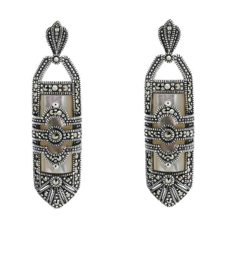 Mother of Pearl Marcasite Earrings - Vintage Style Jewellery by Chicago Marcasite Jewellery