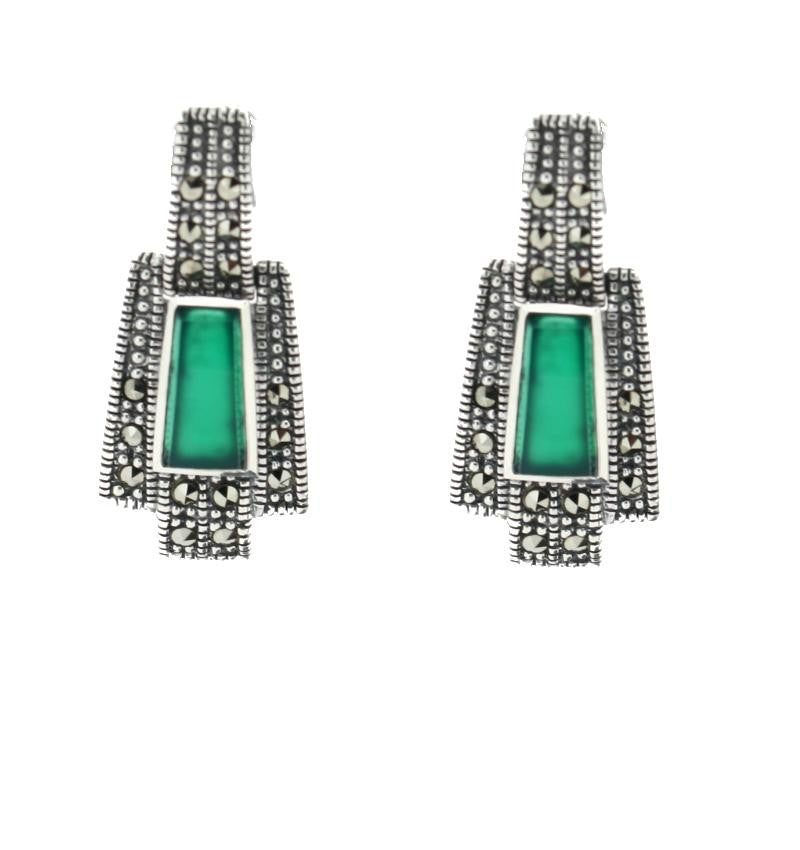 Green Agate Marcasite Earrings - Vintage Style Jewellery by Chicago Marcasite Jewellery