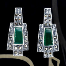 Load image into Gallery viewer, Green Agate Marcasite Earrings - Vintage Style Jewellery by Chicago Marcasite Jewellery