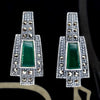 Green Agate Marcasite Earrings - Chicago Marcasite Jewellery