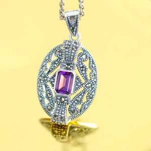 Amethyst Marcasite Pendant & Chain - Vintage Style Jewellery by Chicago Marcasite Jewellery