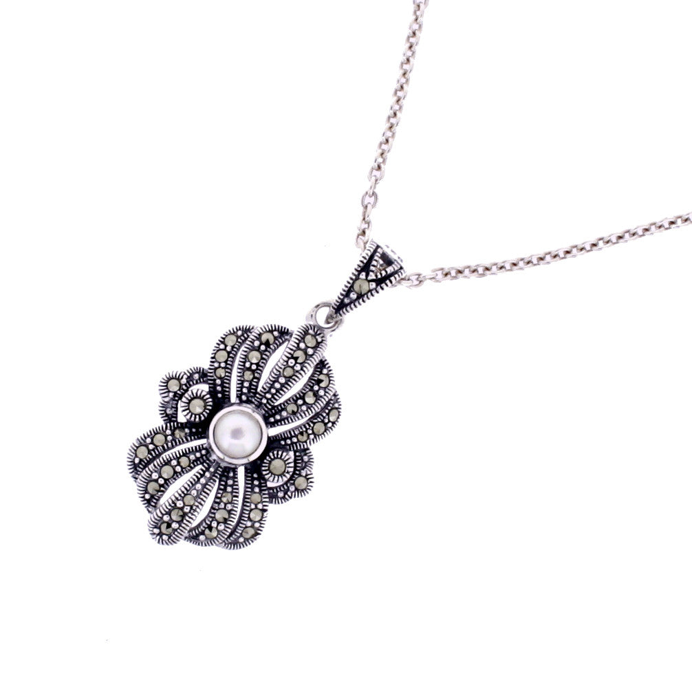 pendant fine heart mop silver sterling charm jewelry marcasite ladies shop
