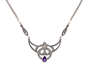 Silver Marcasite and Amethyst Necklace - Vintage Style Jewellery by Chicago Marcasite Jewellery