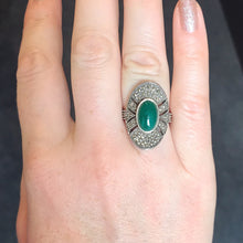 Load image into Gallery viewer, Green Agate & Marcasite Silver Ring - Vintage Style Jewellery by Chicago Marcasite Jewellery