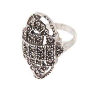 Silver Art Deco Style Ring - Vintage Style Jewellery by Chicago Marcasite Jewellery