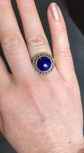 Lapis Marcasite Ring - Vintage Style Jewellery by Chicago Marcasite Jewellery