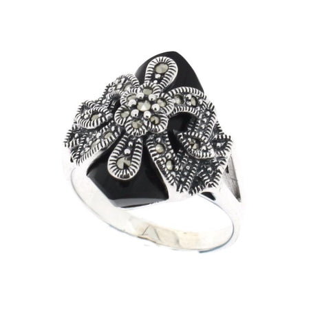 Onyx Marcasite Ring - Chicago Marcasite Jewellery