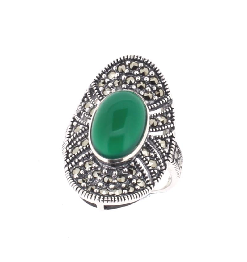 Green Agate & Marcasite Silver Ring - Vintage Style Jewellery by Chicago Marcasite Jewellery
