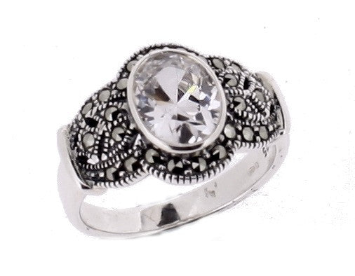 Cubic Zirconia Marcasite Ring - Vintage Style Jewellery by Chicago Marcasite Jewellery