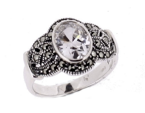 Cubic Zirconia Marcasite Ring - Chicago Marcasite Jewellery