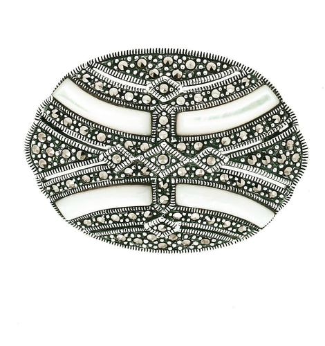 Mother of Pearl Marcasite Brooch/Pendant - Vintage Style Jewellery by Chicago Marcasite Jewellery
