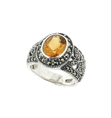 Citrine Marcasite Ring - Chicago Marcasite Jewellery