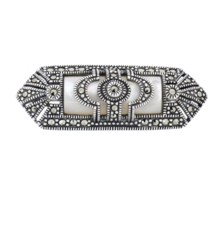 Mother of Pearl Marcasite Brooch - Chicago Marcasite Jewellery