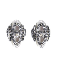 Load image into Gallery viewer, Mother of Pearl Marcasite Earrings - Vintage Style Jewellery by Chicago Marcasite Jewellery