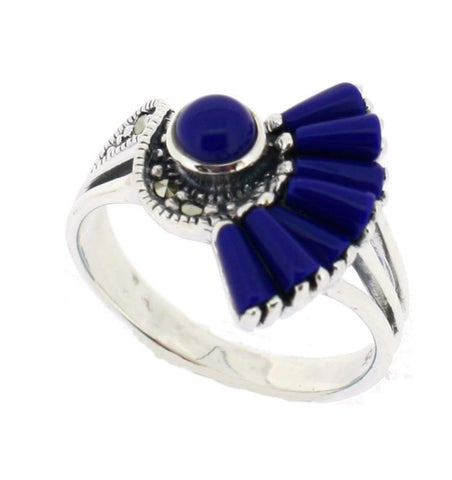 Lapis Marcasite Ring - Chicago Marcasite Jewellery