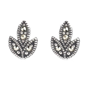 Silver Leaf Earrings - Vintage Style Jewellery by Chicago Marcasite Jewellery