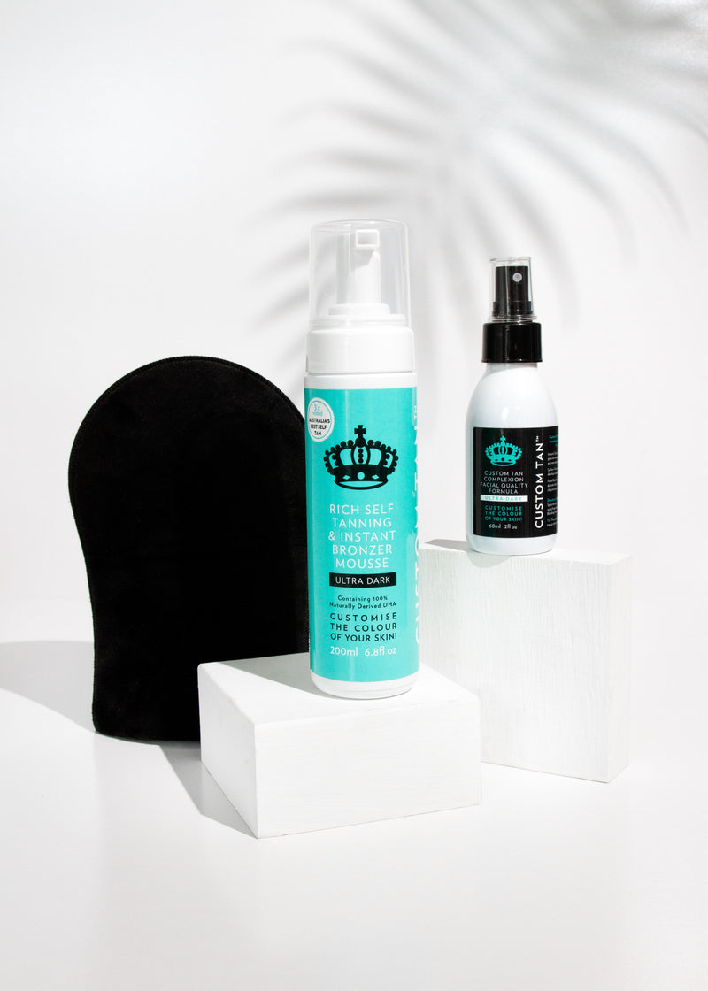 NEW: Self Tan Mousse & Applicator Mitt, Facial Spray Gift Pack with Free Cosmetic Case