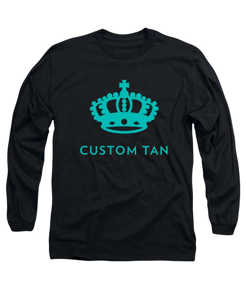 Crown Stack Custom Tan Logo in Aqua - Long Sleeve T-Shirt