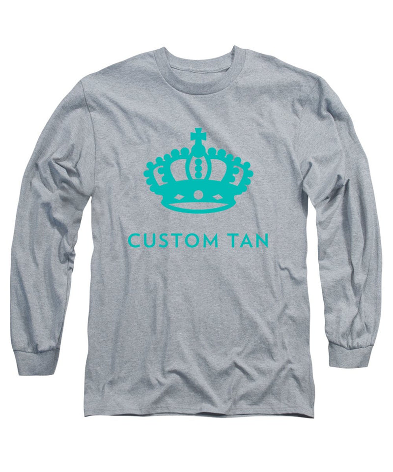 Crown Stack Custom Tan Logo in Aqua - Long Sleeve Unisex T-Shirt