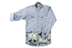 Grey African print men's shirt