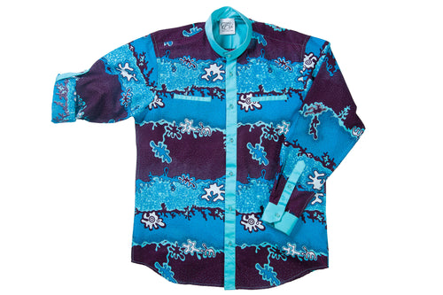 African Print Blue Button Front Shirt