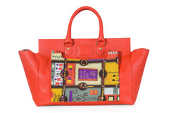 Orange Jigsaw Print Satchel