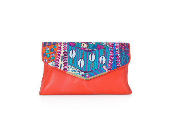 Cowrie print envelope clutch