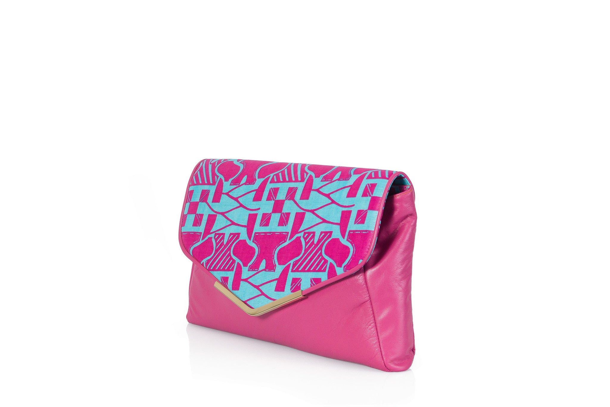 Fuchsia dreams print envelope clutch