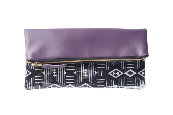 Purple | Black and white graphic print foldover clutch