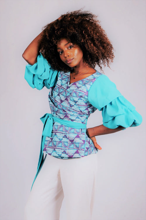 Wrap Top with Crepe Tiered Sleeves- Aqua