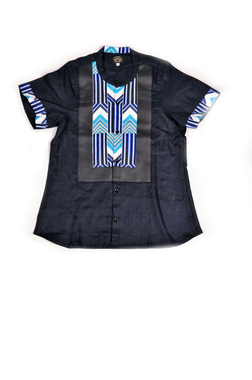Black Short Sleeve Shirt Black Leather and Blue Arrow Print trim