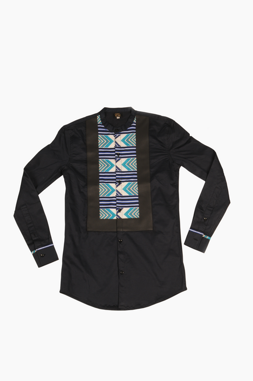 Black Long Sleeve Shirt Leather and  Long Blue Arrow Print trim