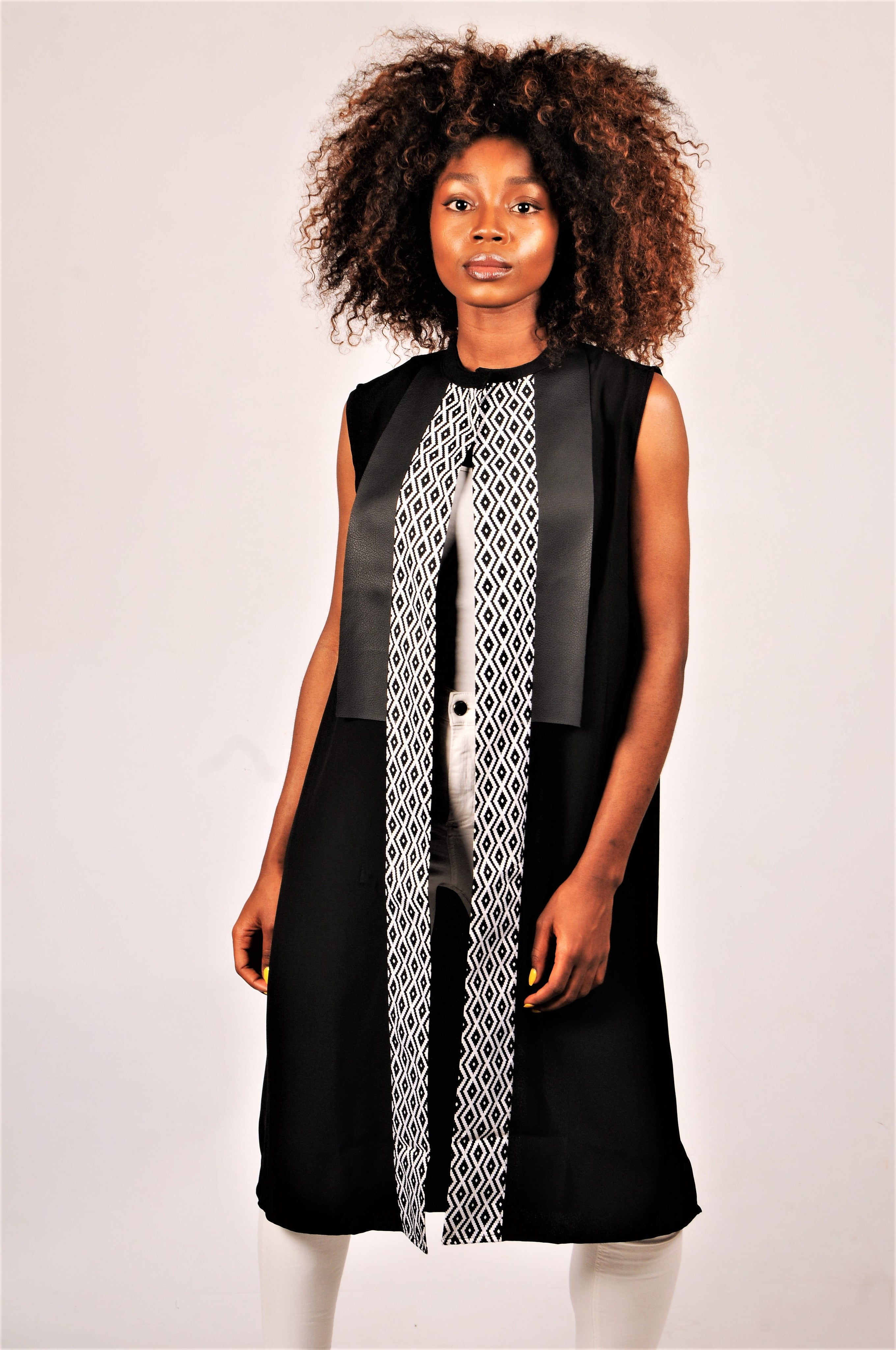 Tunic with grey bogolan and black leather-effect