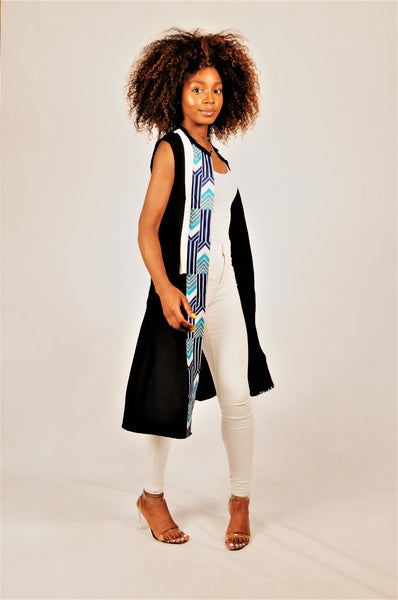 Tunic with arrow black/blue print with white leather