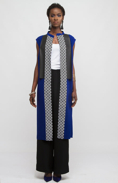 Blue tunic with leather and print panel detail