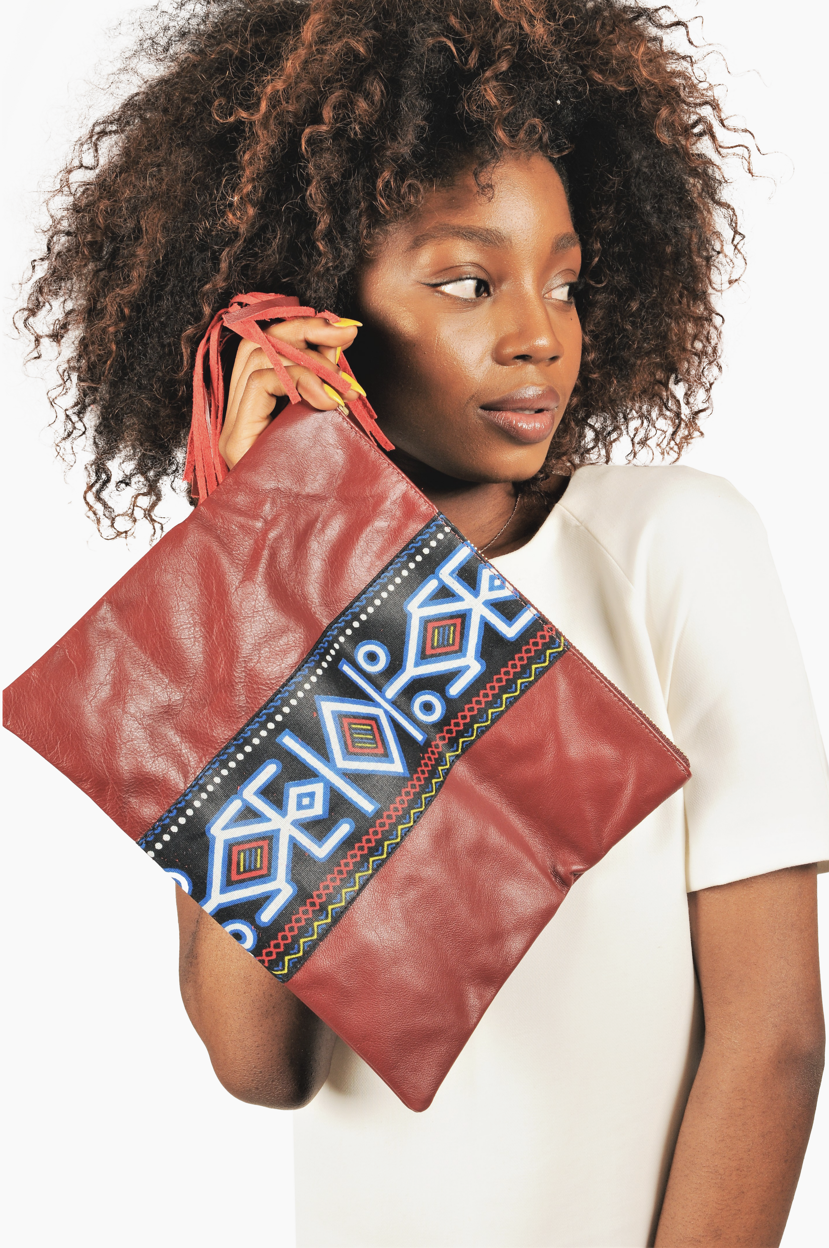 Fold over leather clutch/ pouch with African print detail - Burgundy