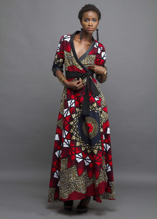 Black evening wrap dress with leather trim and African print