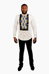 White Leather and Yellow/Blue Print trim Long Sleeve Shirt
