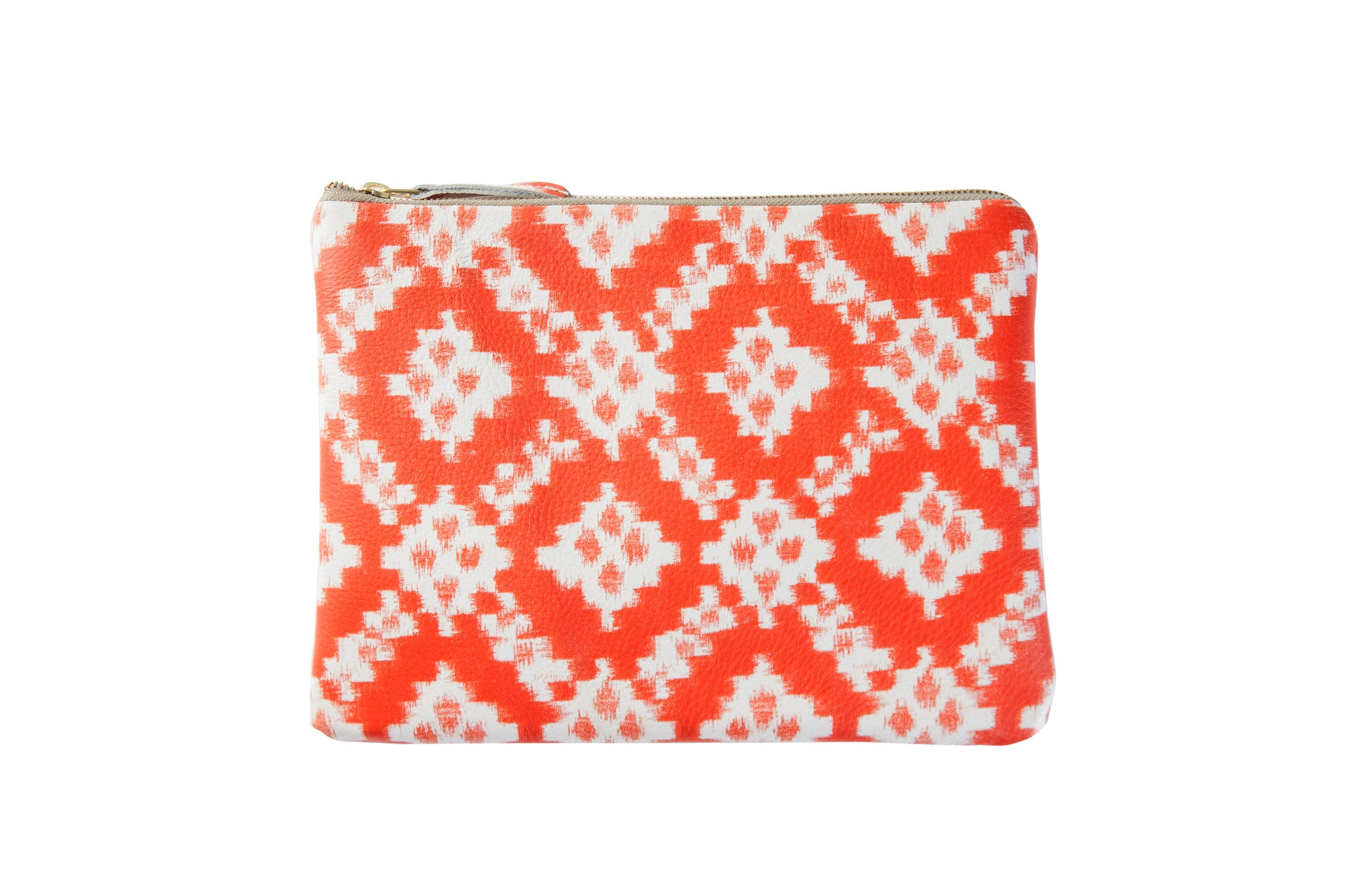 Orange diamonds printed leather editors pouch