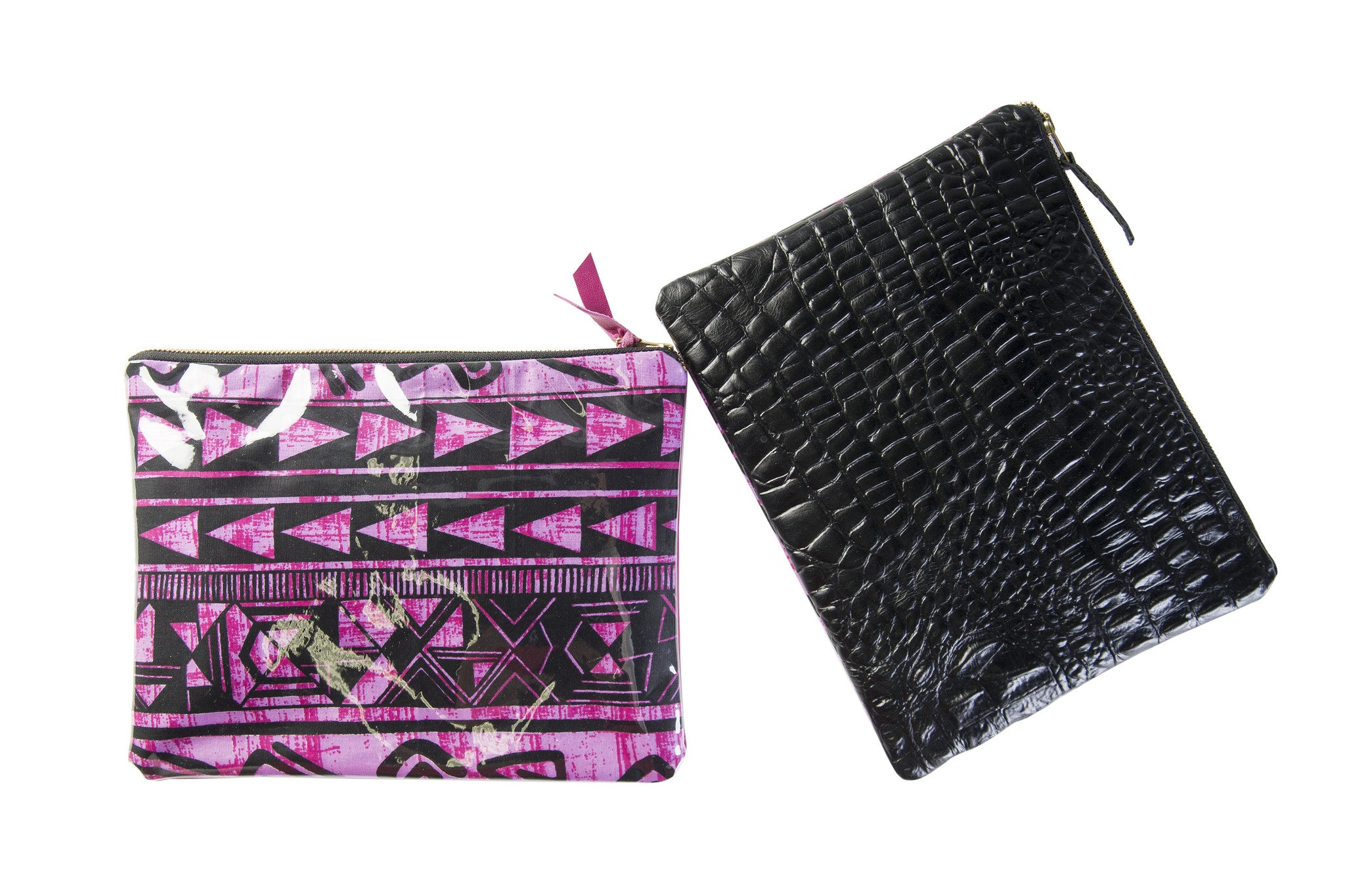 Embossed leather pouch clutch