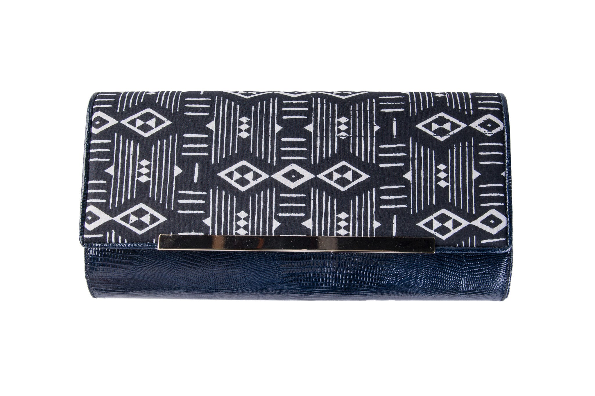 Black and White embossed lizard clutch
