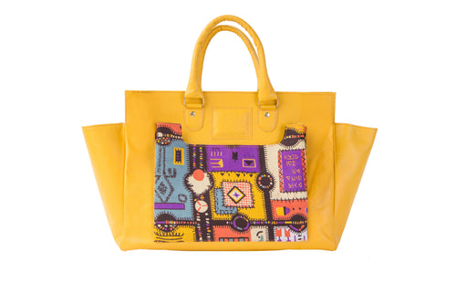 Yellow Jigsaw Print Satchel