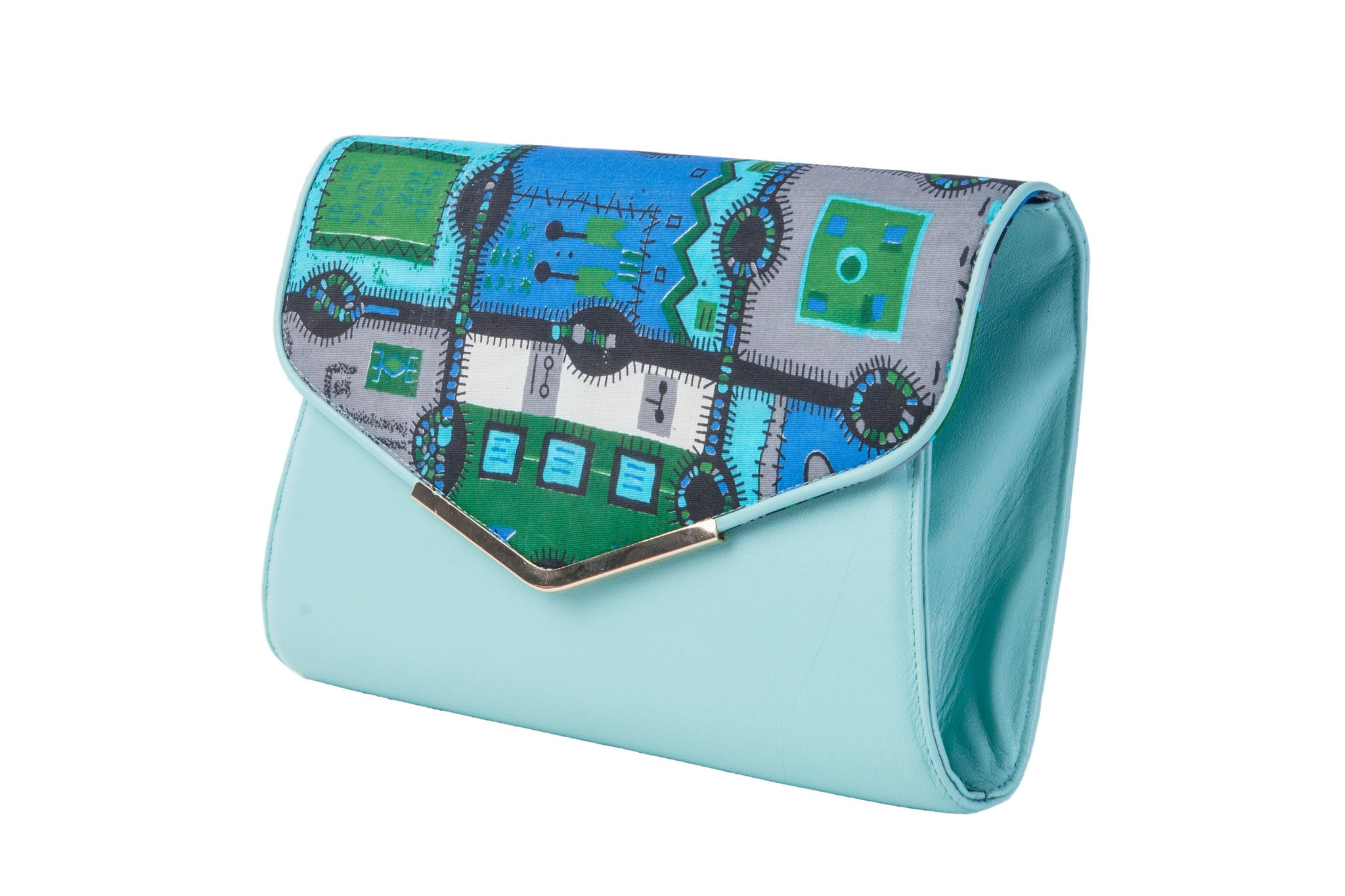 Blue jigsaw leather envelope clutch