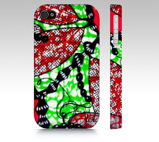 Fuschia & green floral African print Iphone Case